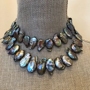 Spectacular pewter cornflake pearl necklace